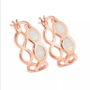 Jewelry - White fire opal silver plated rose gold  earrings